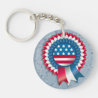 Custom name tag patriotic USA flag Double-Sided Round Acrylic Key Ring