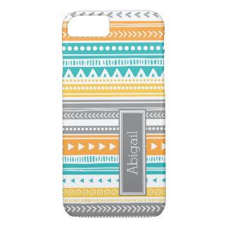 Custom Name Teal Orange Tribal Vintage Pattern iPhone 7 Case