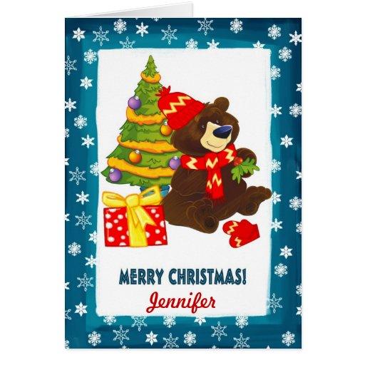 Custom Name. Teddy Bear Christmas Card