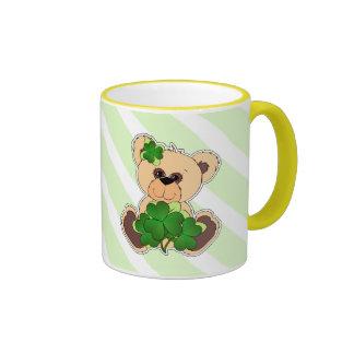 Custom Name Teddy Bear St. Patrick's Day Gift Mugs
