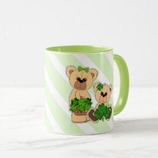 Custom Name Teddy Bears St. Patrick's Day Gift Mug