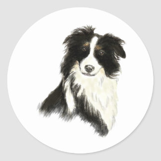 Custom Name text Border Collie Dog Pet Classic Round Sticker