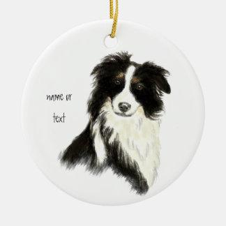 Custom Name text Border Collie Dog Pet Round Ceramic Decoration