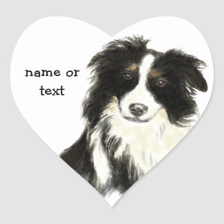 Custom Name text Border Collie Dog Pet Heart Sticker