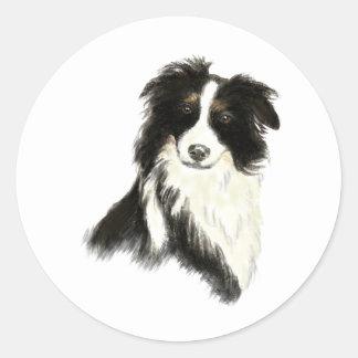 Custom Name text Border Collie Dog Pet Round Sticker