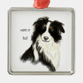 Custom Name text Border Collie Dog Pet Silver-Colored Square Decoration