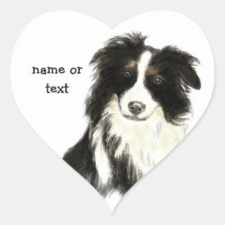 Custom Name text Border Collie Dog Pet Heart Sticker