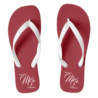 Custom Name The New Mrs. Red Wedding Flip Flops