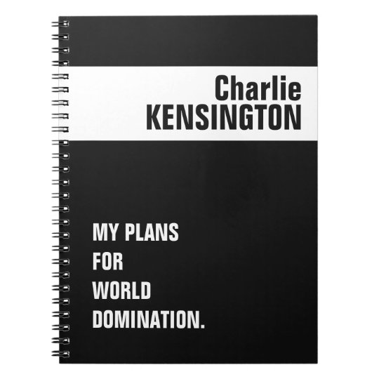 Custom name, title & color notebook