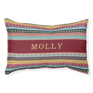 Custom Name Tribal Colorful Pattern Dog Bed