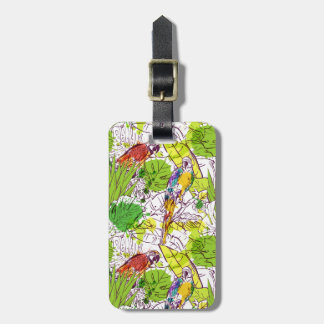 Custom Name Tropical Parrots Luggage Tag