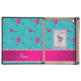 Custom name turquoise bachelorette cocktails rings iPad folio case