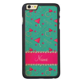 Custom name turquoise bachelorette cocktails rings iPhone 6 plus case