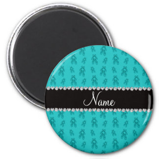 Custom name turquoise ballet shoes 6 cm round magnet