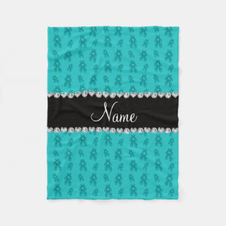 Custom name turquoise ballet shoes fleece blanket