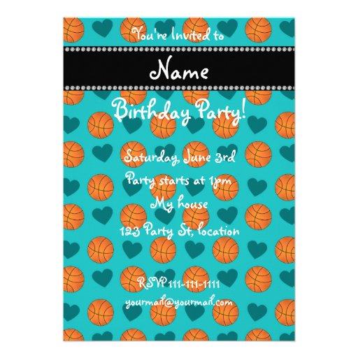 Custom name turquoise basketballs and hearts personalized invite