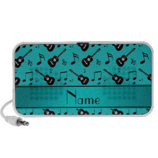 Custom name turquoise black guitars music notes travelling speakers