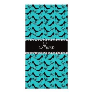 Custom name turquoise black high heels bow diamond customised photo card