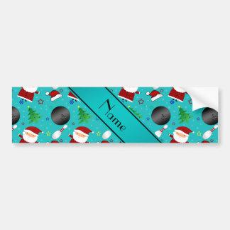 Custom name turquoise bowling christmas pattern bumper sticker