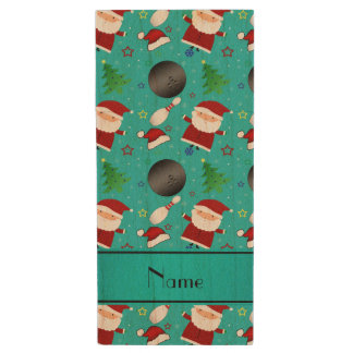 Custom name turquoise bowling christmas pattern wood USB 2.0 flash drive