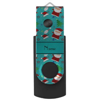 Custom name turquoise bowling christmas pattern swivel USB 2.0 flash drive