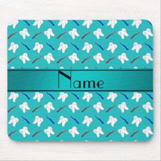 Custom name turquoise brushes and tooth pattern mouse mat