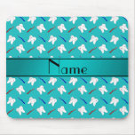 Custom name turquoise brushes and tooth pattern mousepad