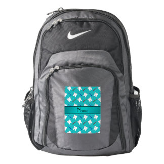 Custom name turquoise brushes and tooth pattern backpack