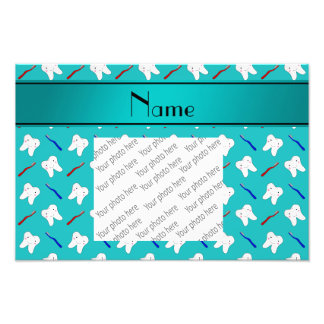 Custom name turquoise brushes and tooth pattern photographic print