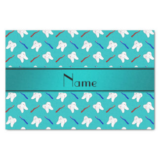 """Custom name turquoise brushes and tooth pattern 10"""" x 15"""" tissue paper"""