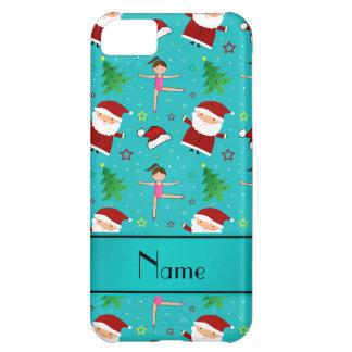 Custom name turquoise christmas gymnastics santas case for iPhone 5C