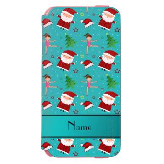 Custom name turquoise christmas gymnastics santas incipio watson™ iPhone 6 wallet case