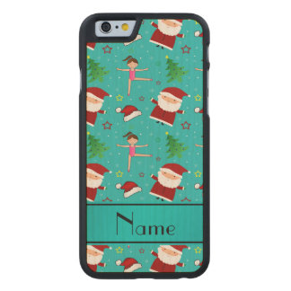 Custom name turquoise christmas gymnastics santas carved® maple iPhone 6 slim case