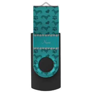 Custom name turquoise dachshunds hearts paws swivel USB 2.0 flash drive