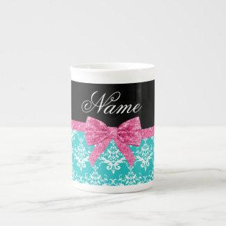 Custom name turquoise damask pink glitter bow bone china mug