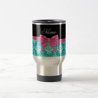 Custom name turquoise damask pink glitter bow mug