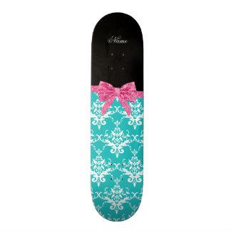 Custom name turquoise damask pink glitter bow skateboard decks