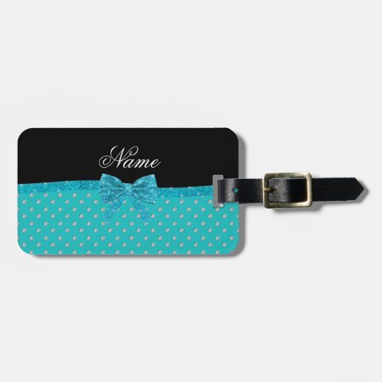 Custom name turquoise diamonds glitter bow luggage tag