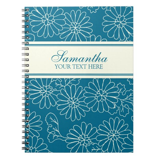 Custom Name Turquoise Floral Notebook