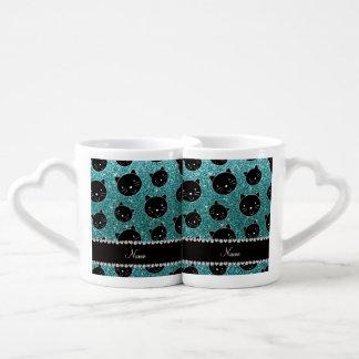 Custom name turquoise glitter black cat faces lovers mug sets