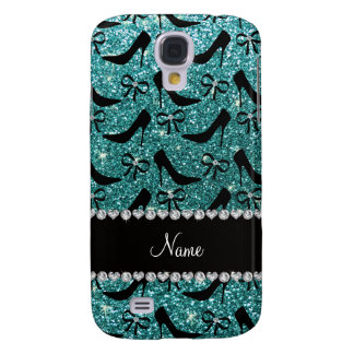 Custom name turquoise glitter black high heels bow samsung galaxy s4 case