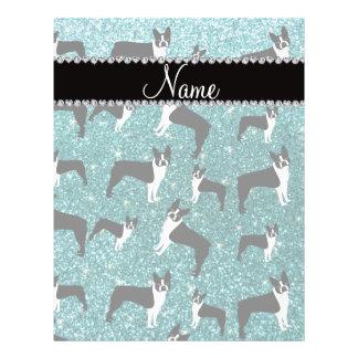 Custom name turquoise glitter boston terrier 21.5 cm x 28 cm flyer