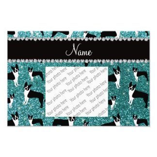 Custom name turquoise glitter boston terrier photo print