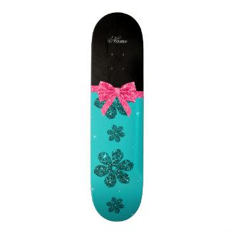 Custom name turquoise glitter flowers pink bow 19.7 cm skateboard deck