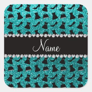 Custom name turquoise glitter high heels dress pur square sticker