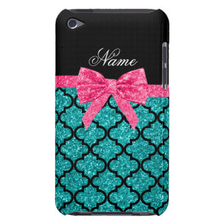 Custom name turquoise glitter moroccan pink bow barely there iPod cases