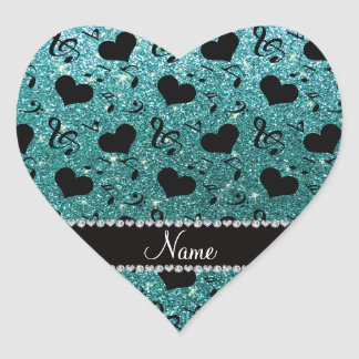 Custom name turquoise glitter music notes hearts heart sticker