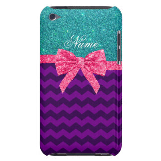 Custom name turquoise glitter purple chevrons bow iPod touch cover