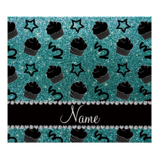 Custom name turquoise glitter stars cupcakes posters