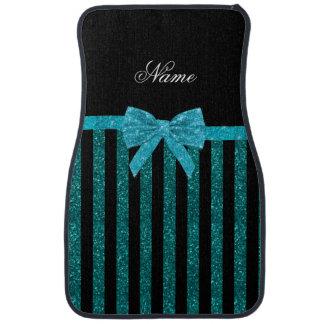 Custom name turquoise glitter stripes bow floor mat